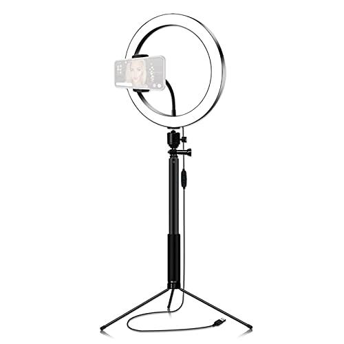 Anillo luminoso de LED de 26 cm, 3200 K-5600 K, bicolor, regulable, 12 W, con trípode de mesa, color negro, selfie Stick portátil para vídeo luz