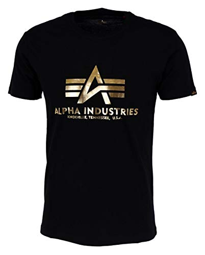 ALPHA INDUSTRIES Herren Basic Foil Print T-Shirt, Black/Yeelow Gold, XL