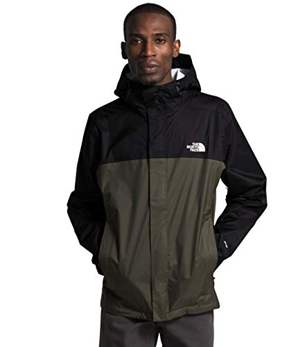 The North Face Men's Venture 2 Waterproof Hooded Rain Jacket, TNF Black/New Taupe Green, Large