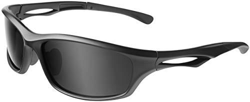 Balinco Polarisierte Sportbrille Sonnenbrille Fahrradbrille mit UV400 Schutz für Damen & Herren Autofahren Laufen Radfahren Angeln Golf (Matt Black - Smoke)