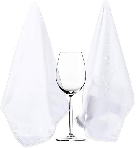 HIDMD - Pa?os de Limpieza de Microfibra para Vidrio y Cristal, Extra Grandes, sin Manchas, sin Pelusas, 40 x 60 cm, 2 Unidades (Blanco, 40cmx60cm)