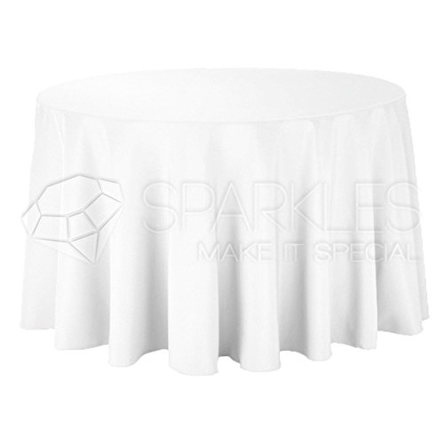 Sparkles Make It Special 10-pcs 120' Inch Round Polyester Cloth Fabric Linen Tablecloth - Wedding Reception Restaurant Banquet Party - Machine Washable - White