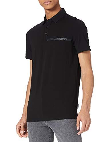 Armani Exchange Mens Short Sleeve Poloshirt in Jersey Stretch Polo Shirt, Black, L