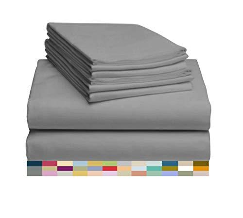 "LuxClub 7 PC Sheet Set Bamboo Sheets Deep Pockets 18"" Eco Friendly Wrinkle Free Sheets Hypoallergenic Anti-Bacteria Machine Washable Hotel Bedding Silky Soft - Light Grey Split King"