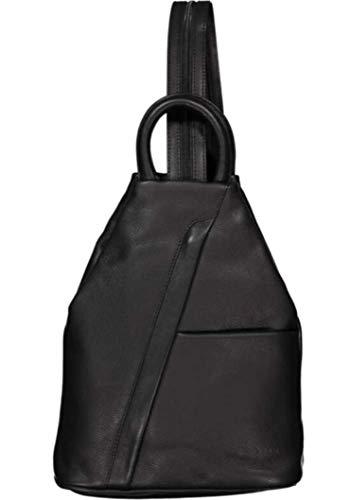 Dernier ESTELLE Leder Rucksack Damen Cityrucksack Daypack schwarz 25 x 30 x 11 cm