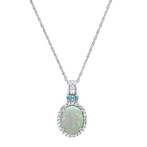 Dazzlingrock Collection 7X5 mm Oval Created Opal & Round Created White Sapphire, Natural Blue Topaz Ladies Drop Pendant, Sterling Silver