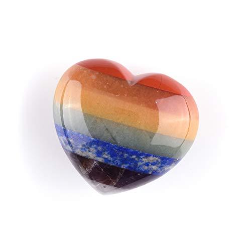 CrystalTears 7 Chakra Handschmeichler Herz Form Edelsteine Steinherz Healing Balance Reiki Deko Set