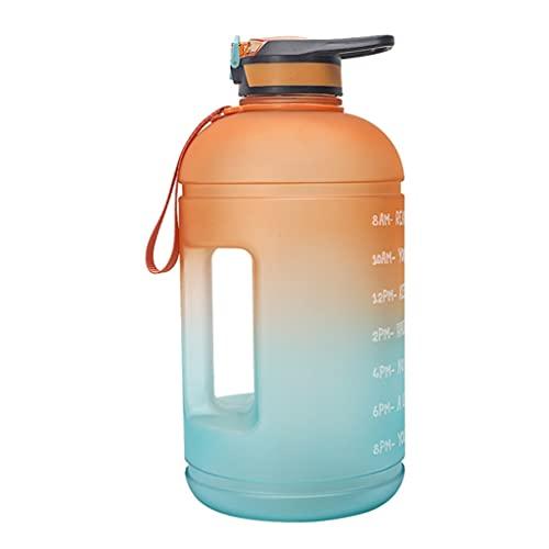 Bottiglia d'acqua grande capacità 1814 ml motivazionale bottiglia d'acqua con indicatore del tempo e cannuccia, brocca d'acqua per palestra e sport all'aria aperta (colore: arancione sfumato)