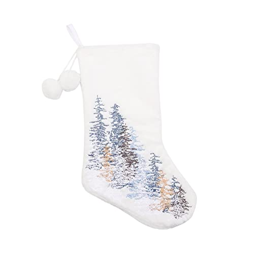 JJY Bordado Copo de Nieve Árbol de Navidad Blanco Medias de Peluche de Caramelo Bolsa de Regalo Colgante Navidad Navidad Copito de Nieve Medias de árbol (Color : Christmas Tree)