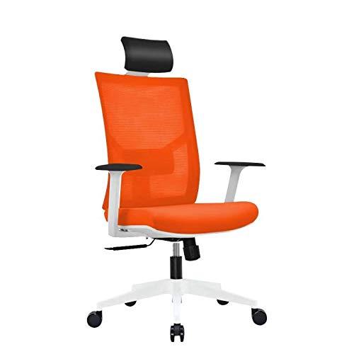 Ergonomic Multi Function Mesh Office Chair with Lumbar Support, Adjustable Armrest, Orange (Headrest, Orange)
