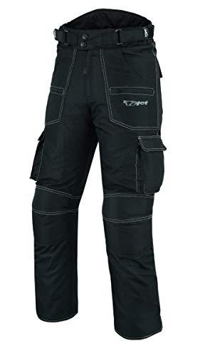 JET Pantalones de moto para hombre, de tela CE, blindado, impermeable, visión nocturna, color negro