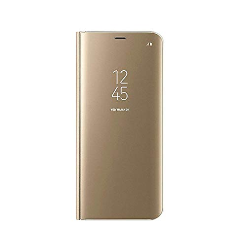 UILY Funda Compatible con Samsung Galaxy A82 5G, Carcasa Espejo Perspectiva Voltear Inteligente Ultradelgada Moda, Concha con Función Soporte Anticaída. Dorado