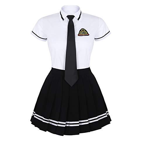 TiaoBug Damen Schulmädchen Kostüm 3er Set Kurzarm Hemd+Faltenrock+ Krawatte Schoolgirl Outfit Uniform Cosplay Karneval Fasching gr. S-XXXL Weiß&Schwarz 3XL