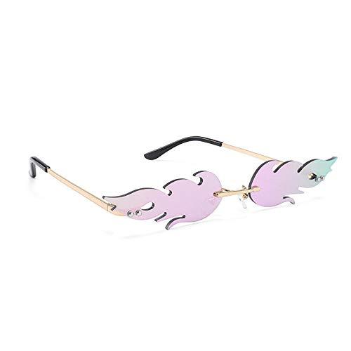 Gafas de sol con llama para hombres y mujeres, gafas de sol con montura de metal, gafas europeas y americanas, montura dorada, película púrpura