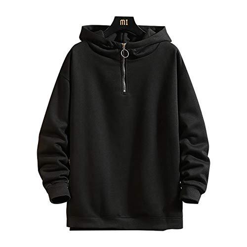 YENDZ 2021 Nueva Sudadera con Capucha para Hombre, suéter de Talla Grande y Sudadera de Terciopelo M Black