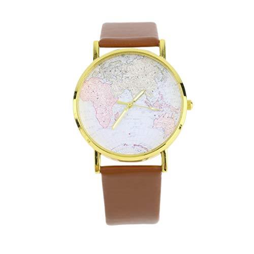 uhr mann damenmode damen leder legierung weltkarte globus analog quarz retro armband watchworldwise top qualität - kaffee