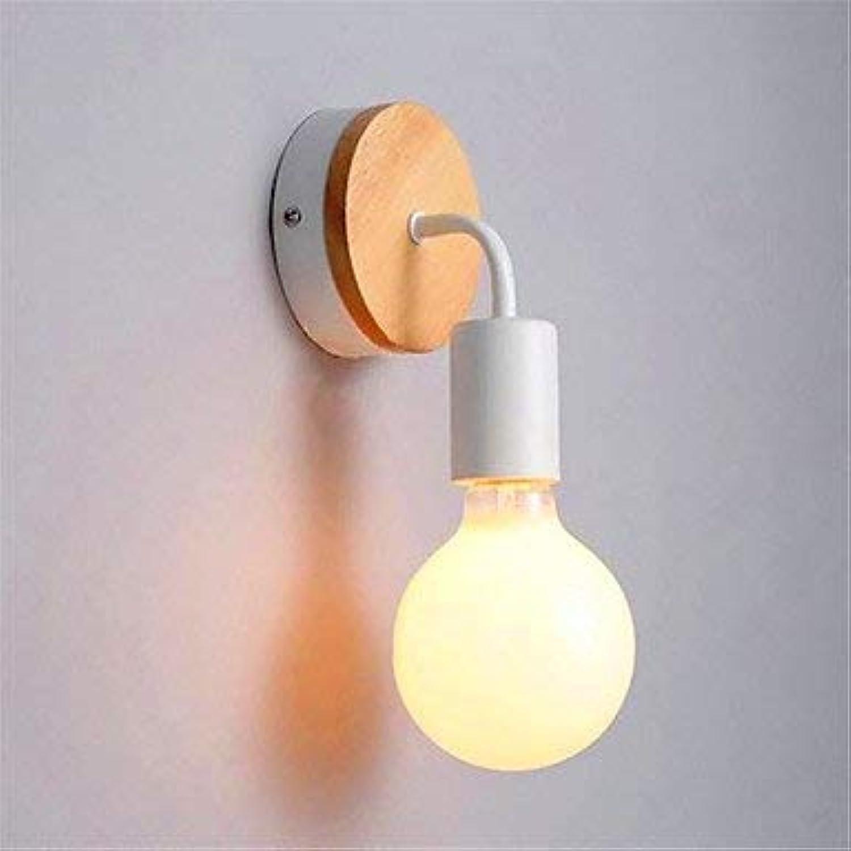 Moderne minimalistische kreative Persnlichkeit Holz Eisen Lampe Korridor Balkon Schlafzimmer Nacht Eisen Wandlampe, wei