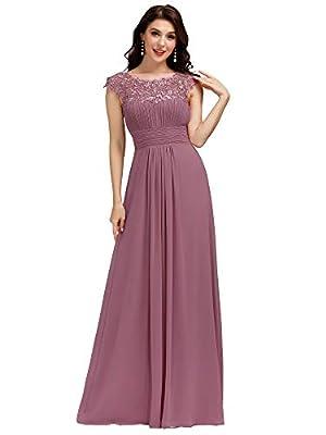 Ever-Pretty Cap Sleeve Floor Length A Line Chiffon Dress Bridesmaid Dress 10 US Orchid