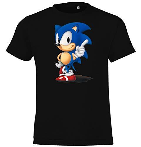 Kinder Jungen Mädchen T-Shirt Modell Sonic - Schwarz 106/116 (6 Jahre)