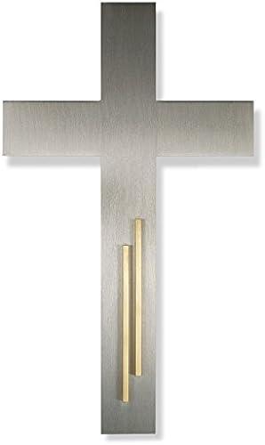 Stahlkreuz mit Verzierung it Messing Stabauflage 5cm