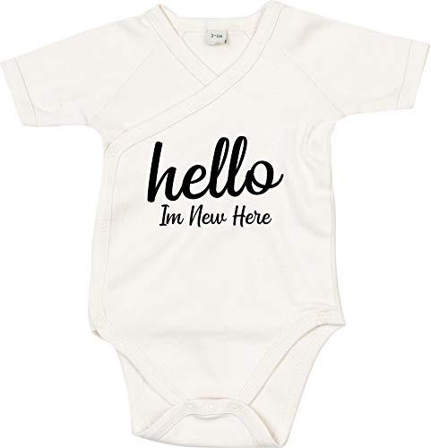 Kleckertegel baby body spreuken wikkelbody jongens meisjes organic kimono korte mouwen met opdruk motief Hello in New here