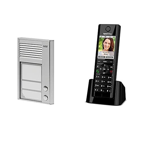 Auerswald TFS-Dialog 202,Türsprechstelle 2Taster Für A/B Aluminium & AVM Fritz!Fon C5 DECT-Komforttelefon (hochwertiges Farbdisplay, Internet-/Komfortdienste) schwarz, deutschsprachige Version