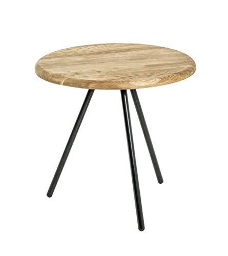 Haku Moebel Table d'appoint, Acier^Bois Massif, Noir-chêne, 40 x 40 cm