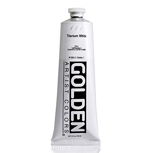 Heavy Body Acrylic Paint by Golden in 5 Ounce Tube Titanium White