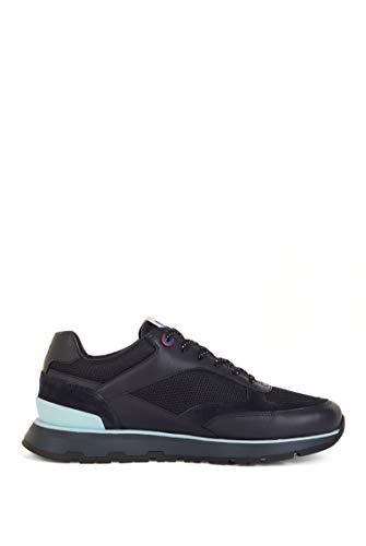BOSS Zapatillas de correr para hombre de Arigon Runn en materiales mezclados con logotipo exclusivo, color Azul, talla 40 2/3 EU