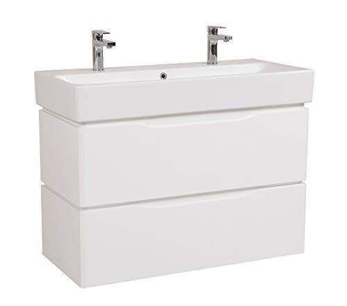 Juventa Doppelwaschtisch Venice MONTIERT 100 cm | Waschplatz mit Keramik Waschbecken | Hochglanz Lackierung | Auzüge mit Soft-Close Funktion | Bereits montiert Rückversand |