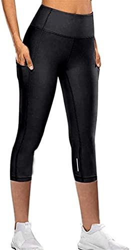 OVIWENEII Leggins Donna Capri Push Up Sportivi Tight Pantaloni Palestra con Tasche
