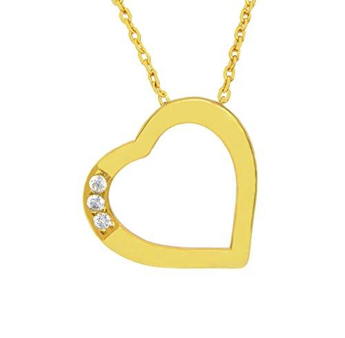 Collier Herz 925 Sterling Silber 24K vergoldet 3 Zirkonia Silberkette Halskette Kette Damen