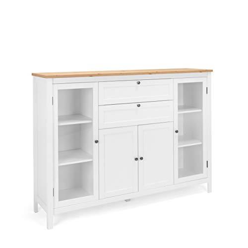 Newfurn Highboard Weiß Wildeiche Kommode Vintage Landhaus - 160x120x40 cm (BxHxT) - Schrank Sideboard Anrichte - [Eireen.Four] Wohnzimmer Schlafzimmer Flur Esszimmer