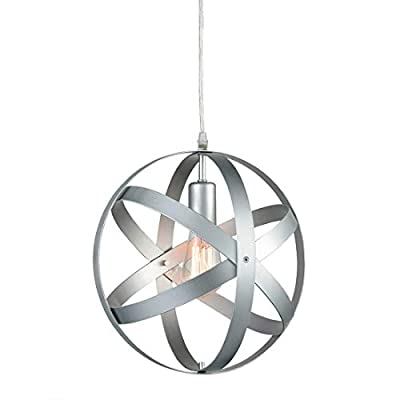 Truelite Industrial Vintage Pendant Light Silver&Gray Metal Globe Downlight Chandelier