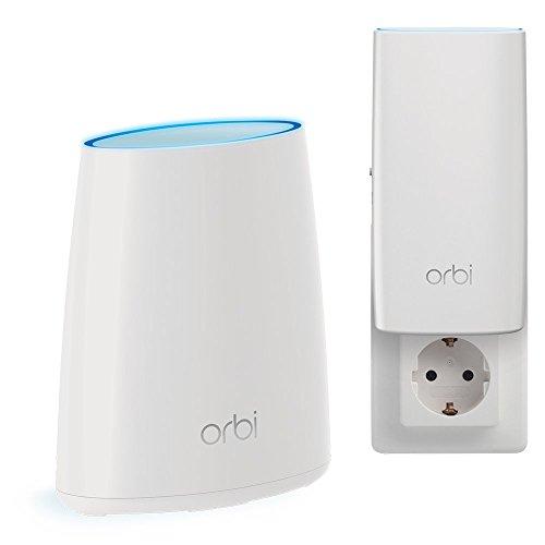 Netgear Orbi RBK30-100PES AC2200 Tri-band Mesh WLAN System (bis zu 200 m2 und kompatibel mit Alexa) weiß matt, 2er Set kleine Wohnung