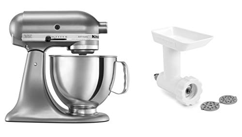 KitchenAid KSM150GBQCU Artisan Tilt-Head Stand Mixer with Food Grinder Attachment, Contour Silver
