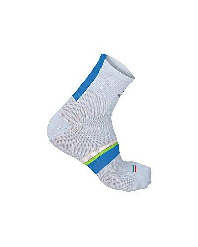 Sportful Bodyfit Pro 9 Sock, White/Electric Blue-Yellow Fluo - Blanco, XL