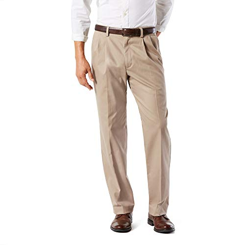 Dockers Men's Classic Fit Easy Khaki Pants - Pleated D3, Timber Wolf (Stretch), 34 29