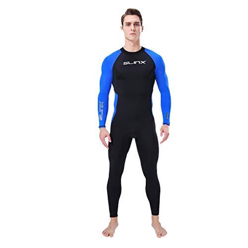 iYmitz Herren Wetsuit 3MM Neoprenanzüge Super Stretch Tauchanzug Schwimmen Surf Schnorcheln Surfanzug(Blau,2XL)