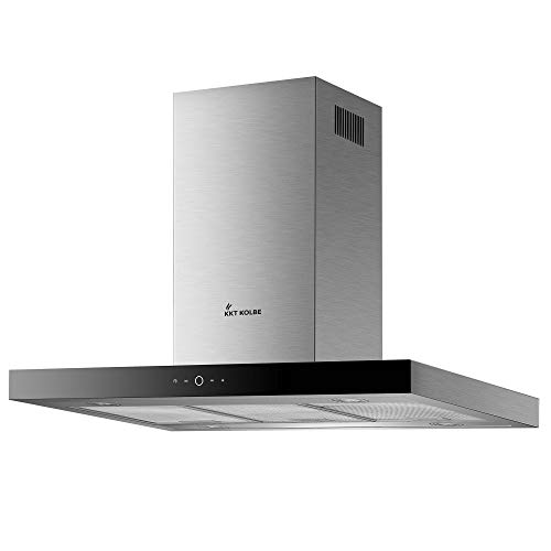 KKT KOLBE Dunstabzugshaube/Inselhaube / 90cm / Edelstahl/schwarzes Glas/Extra-leise/Energieklasse A+ / 9 Stufen/LED-Beleuchtung/TouchSelect Sensortasten/DELTA-INSEL-TC9
