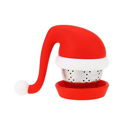 Yunnuopromi Tee-Ei in Form Einer Weihnachtsmütze aus Edelstahl mit Silikonfilter, Diffusor, Geschenk, Rot