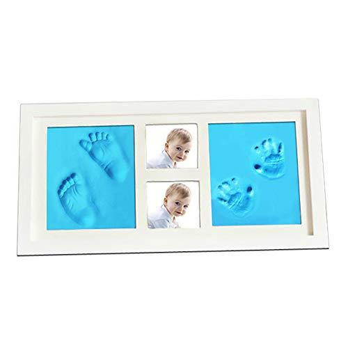 Kit d'empreinte de main de bébé Bébé et main Image Empreinte Kit Cadre de mur de crèche décor de la chambre for New Born Baby Shower pour souvenir ( Color : White frame+blue mud , Size : 41x23x2cm )