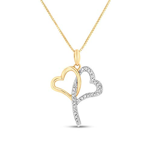 Ani's 1/6 CT. T.W. Round Cut CZ Diamond Double Heart Outline Pendant For Her In 14K Two-Toned Gold Plated 925 Silver