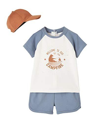 Vertbaudet 3-teiliges Baby-Set mit kurzem T-Shirt, Shorts und Mütze,...