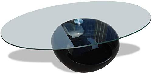 Arreditaly Tavolino Basso Ovale da Salotto in Vetro Temperato E Legno Lucido Laccato per Soggiorno Salone Sala da Pranzo Tavolo da caffè Design Moderno Ed Elegante Rio 115 x 40 x 65 cm (Nero)