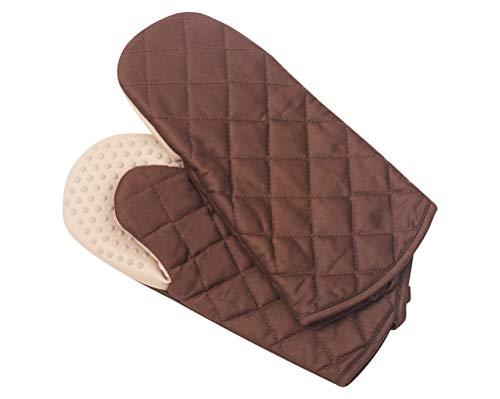 Klmnop - Guantes de aislamiento térmico de silicona para horno, guantes de silicona y algodón, para cocina, parrilla, horno, pizza, 1 par, rojo, negro, marrón