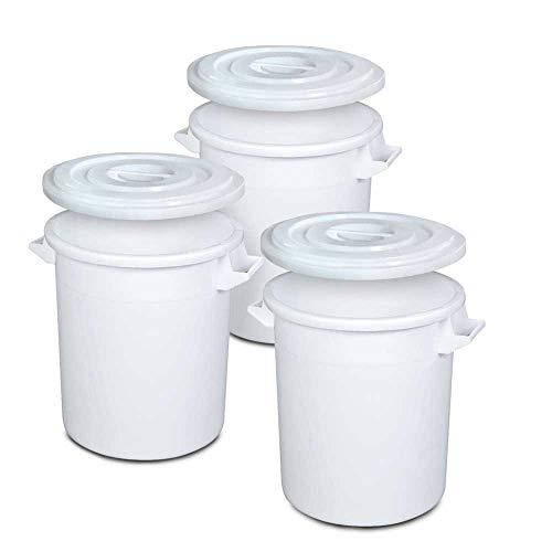 3x 35 Liter Kunststofftonne mit Deckel, lebensmittelecht, Polyethylen-Kunststoff (PE-HD), weiß