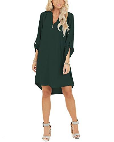 YOINS Damen Kleider Tshirt Kleid Sommerkleid für Damen Brautkleid Langarm Minikleid Kleid Langes Shirt V-Ausschnitt Lose Tunika mit Bowknot Ärmeln Dunkelgrün XL