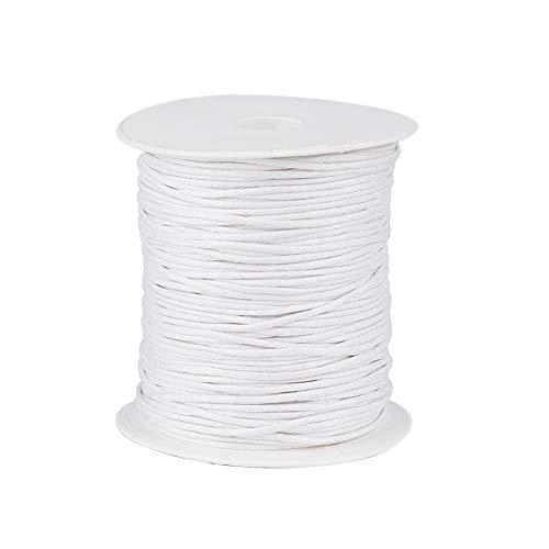 Craftdady Cuerda de algodón encerado trenzado de 1,5 mm, cuerda de hilo de imitación de cuero con carrete para manualidades, collar, pulsera, joyería, color blanco