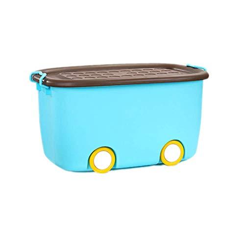 MRCOCO Aufbewahrungsbox Kinder, Kiste Mit Deckel Für Kinderzimmer, Spielzeugkiste Aufbewahrungsbox,Spielzeugbox Funny Mit Großen Rädern Und Aufliegendem Deckel, Schöne Und Praktische,Blau,L